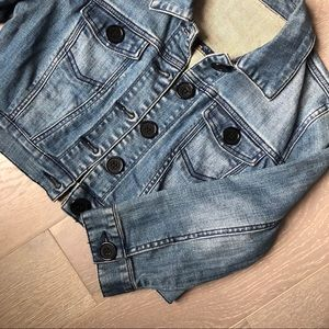 Cropped Button-Up 3/4 Sleeve Jean Jacket